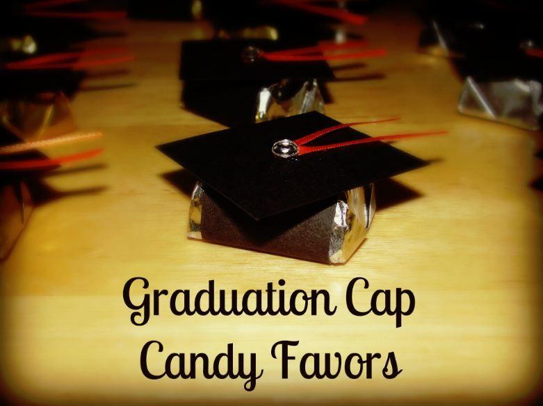 graduation cap candy favors tutorial requires a bag of hersheys nuggets candy black graduation table decorationslollipop