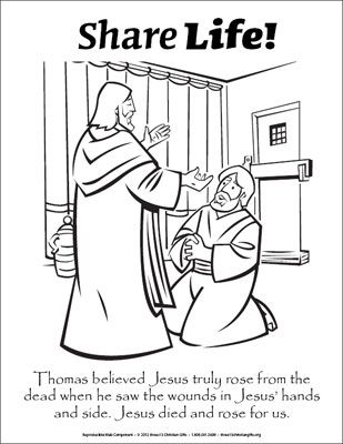 Share Life Coloring Page Doubting Thomas Downloadable Bible