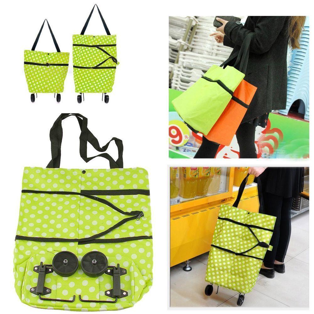 Portable Shopping Trolley Bag with Wheels Portable Foldable Shopping Bag Cart