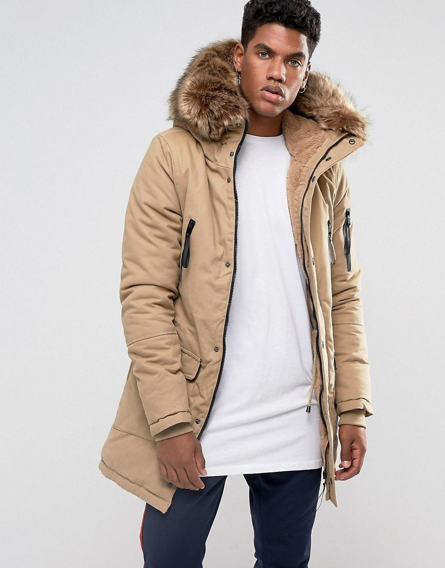 Sixth June Parka Jacket In Stone With Oversized Faux Fur