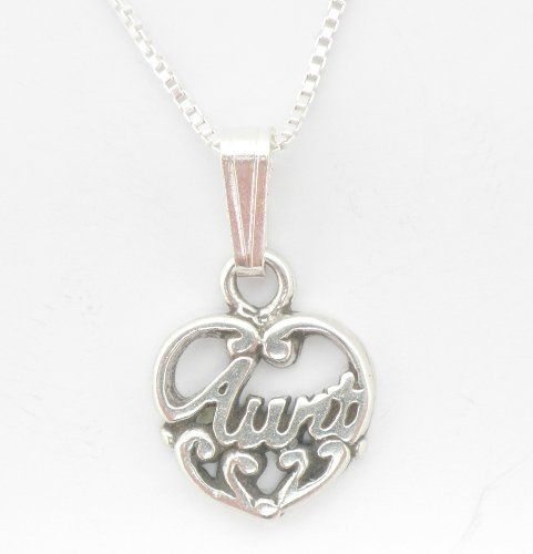 Sterling Silver Aunt Aunty Pendant Necklace 18inch Chain -- Details can be found by clicking on the image.