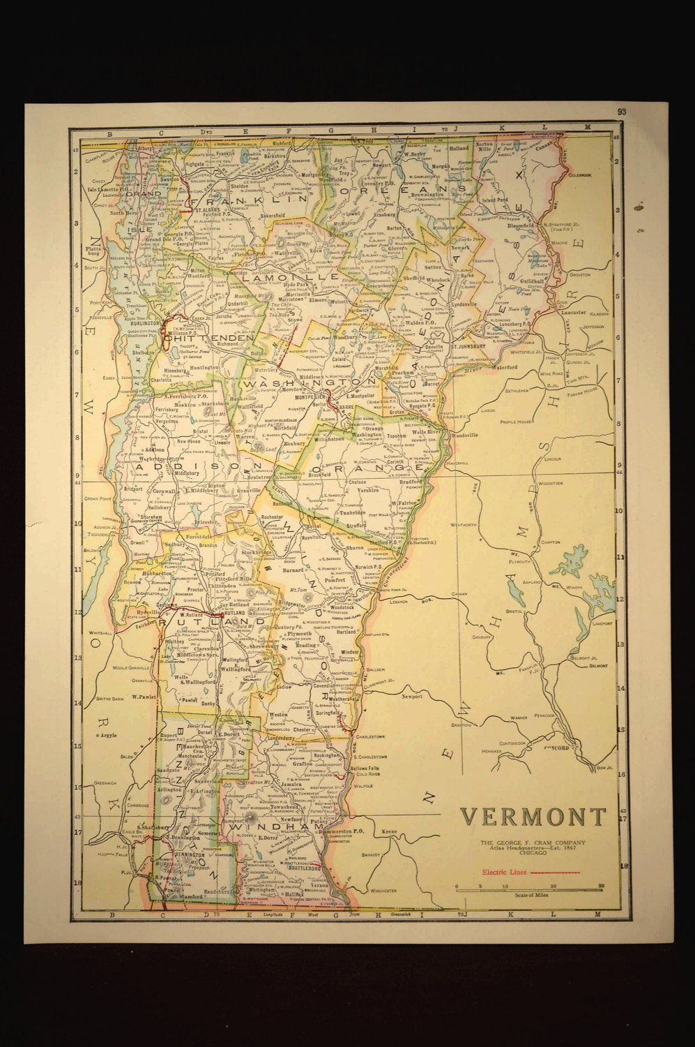 TWO SIDED Antique Road Map Vermont Map Original Highway Roadway - Antique road maps