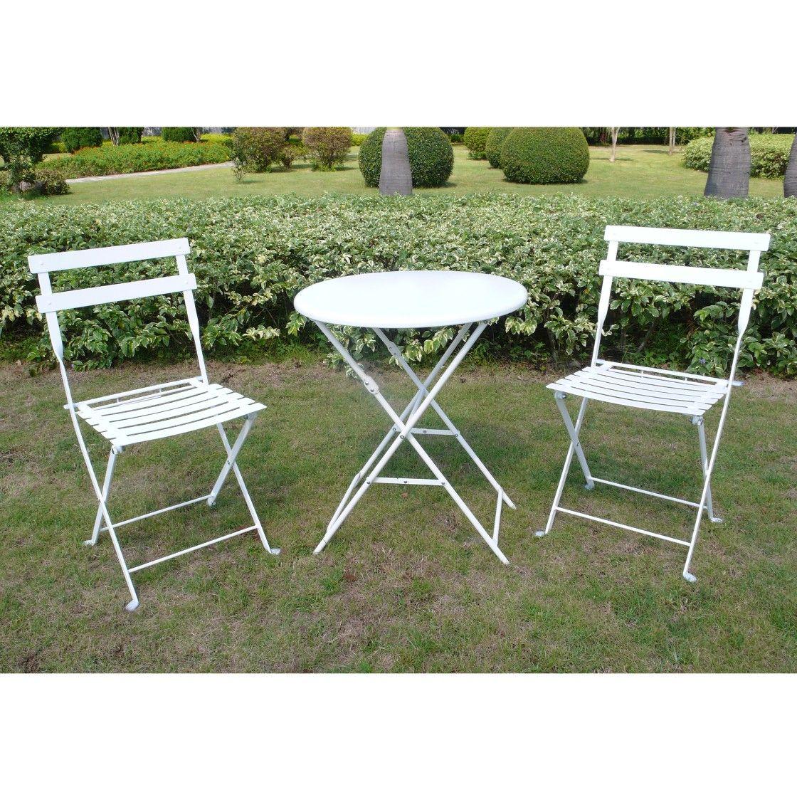 white 3 piece folding metal bistro furniture set at target patio