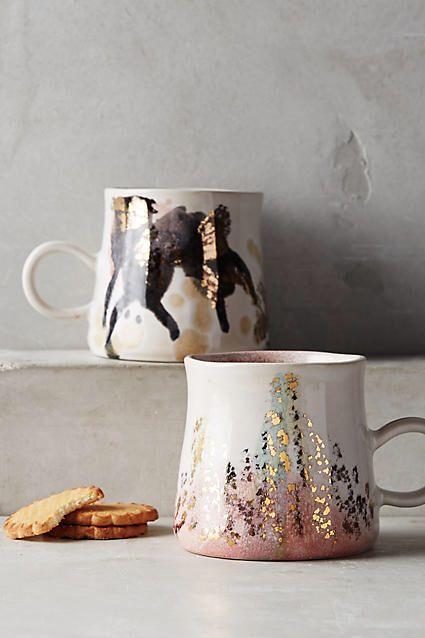 Anthropologie Gold Accent Mug | Coffee Mugs | Tea Mugs | Gift Ideas | #ad