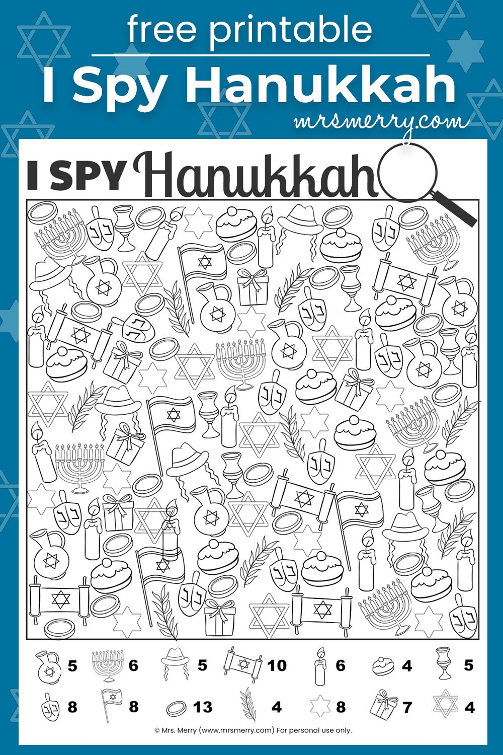 I Spy Hanukkah Free Printable Holiday Games For Kids Mrs Merry Holiday Activities For Kids Printables Free Kids Printable Activities For Kids [ 1500 x 1000 Pixel ]