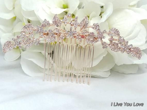 Rose Gold Bridal Hair Comb-Rose Gold Bridal hair accessories,wedding hair accessories,bridal hair co #bridalhairflowers