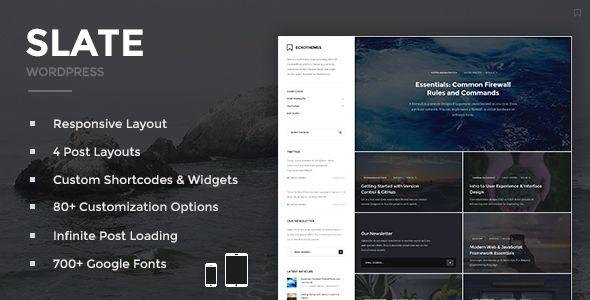 Slate Responsive WordPress Blog Theme Wordpress Blog Themes And