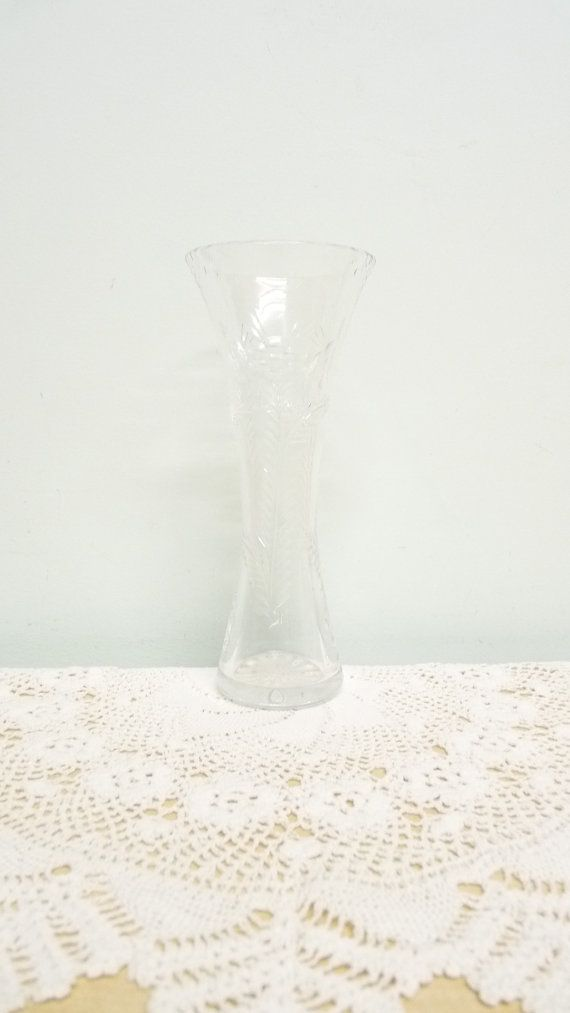 Tall Bud Vase Cut Glass Crystal Flower And Foliage Pattern