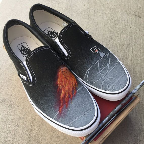Custom Painted Basketball Theme Vans Slip On Shoes by