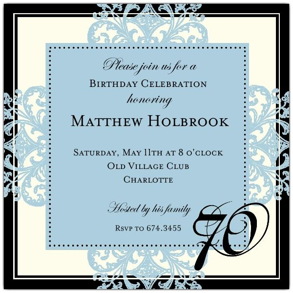 Decorative Square Border Blue 70th Birthday Invitations