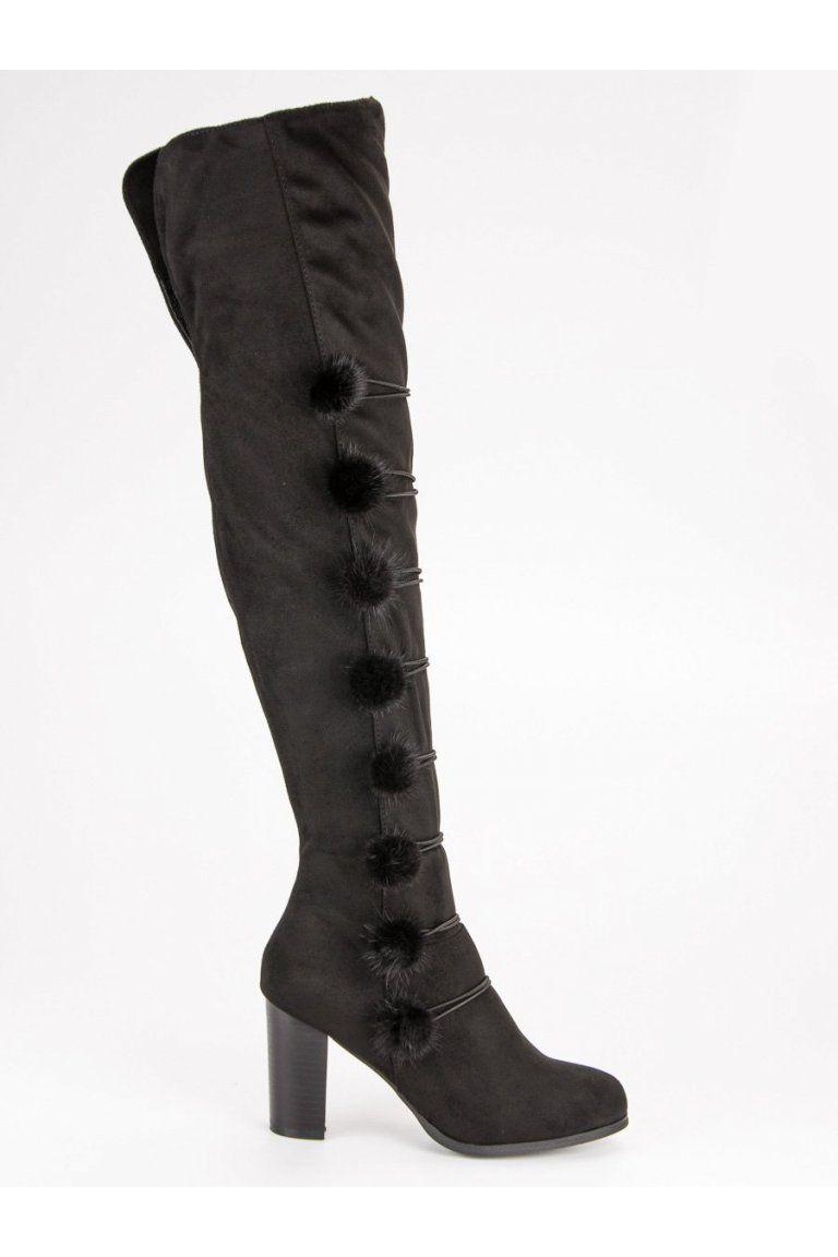 f955a1c372d2c Elegantné čierne čižmy FC-H115B | Čižmy nad kolená - NAJ.SK | Čižmy ...