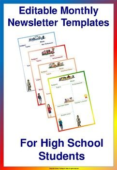 Editable Monthly Newsletter Templates For High School  High