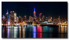 """Ciudad de Nueva York Noche reflexión horizonte nubes Arte Cartel de seda 13x24 24x43 """""""