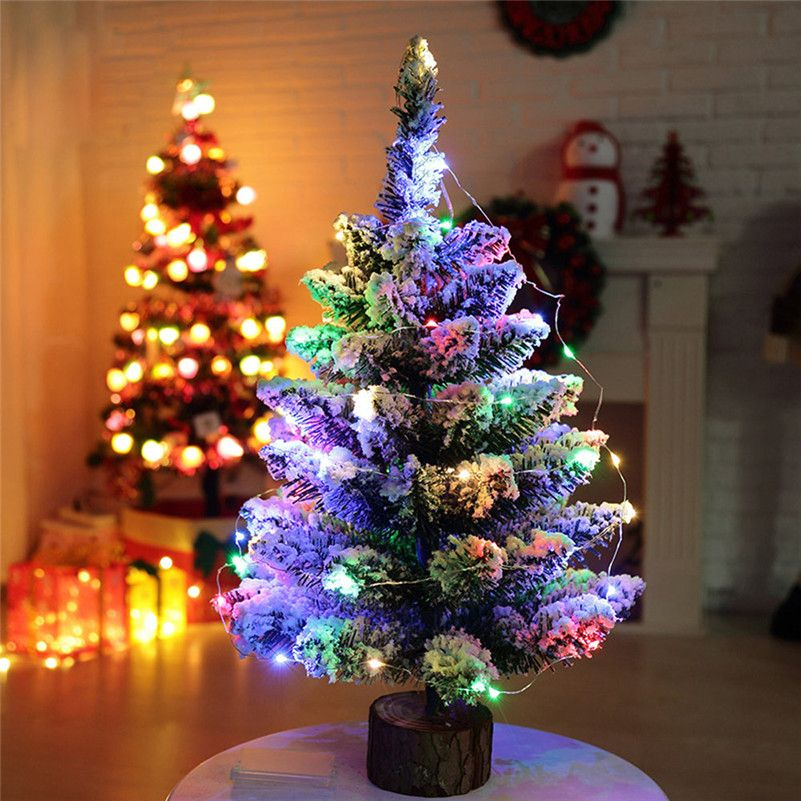 1pc artificial flocking snow christmas tree led multicolor lights holiday window decorations wholesale free shipping a10