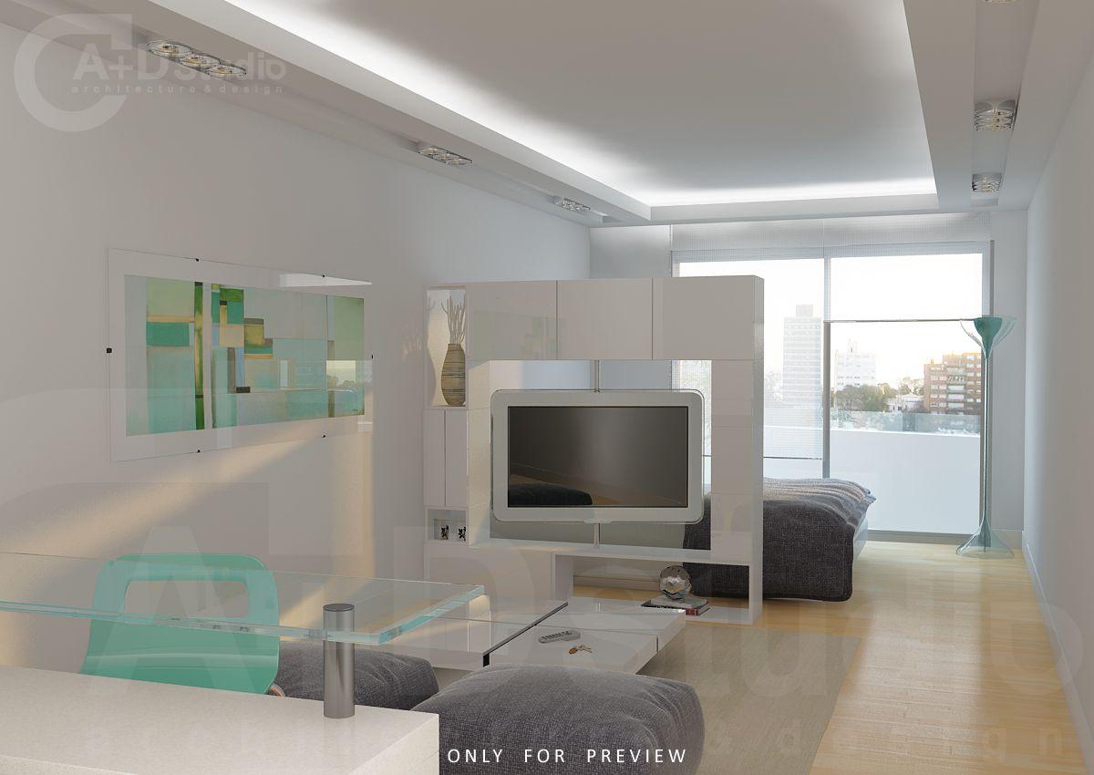 Monoambiente Balc N Habitaciones Estudiantiles Pinterest  # Muebles Separadores Para Monoambientes