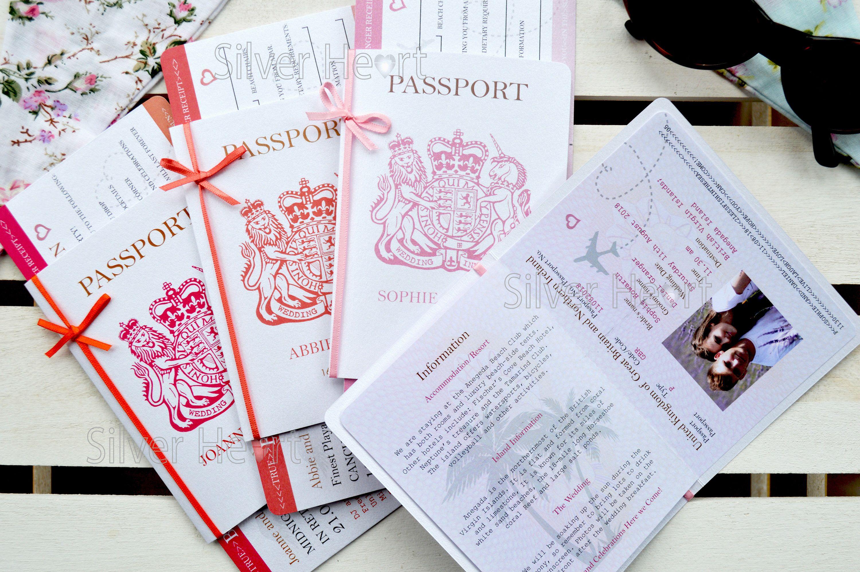 Bow passport wedding invitation with boarding pass rsvp