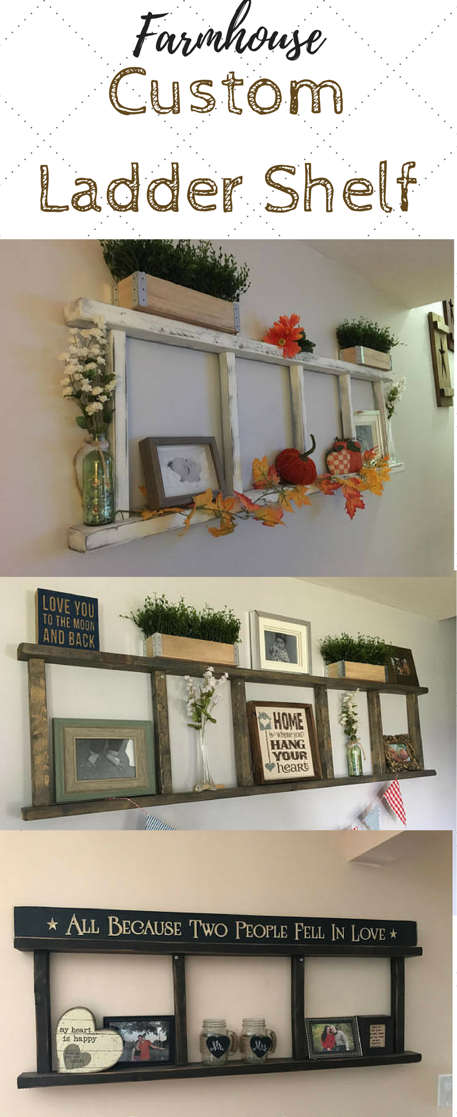 Need this farmhouse ladder shelf in my living room to display photos