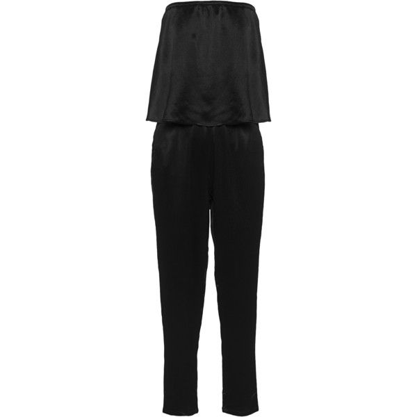 ELLA MOSS Izzy Black // Jumpsuit with bandeau layer top (305 CAD) ❤ liked on Polyvore featuring jumpsuits, bandeau bikini top, jump suit, black bandeau bikini top, black bandeau top and ella moss