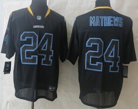 ... NFL Elite Jersey Nike San Diego Chargers 24 Ryan Mathews Lights Out  Black Elite Jersey ... 7106354ac