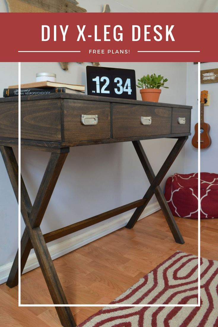 Diy X Leg Desk With Drawers Small House Addict Woodworking Plans