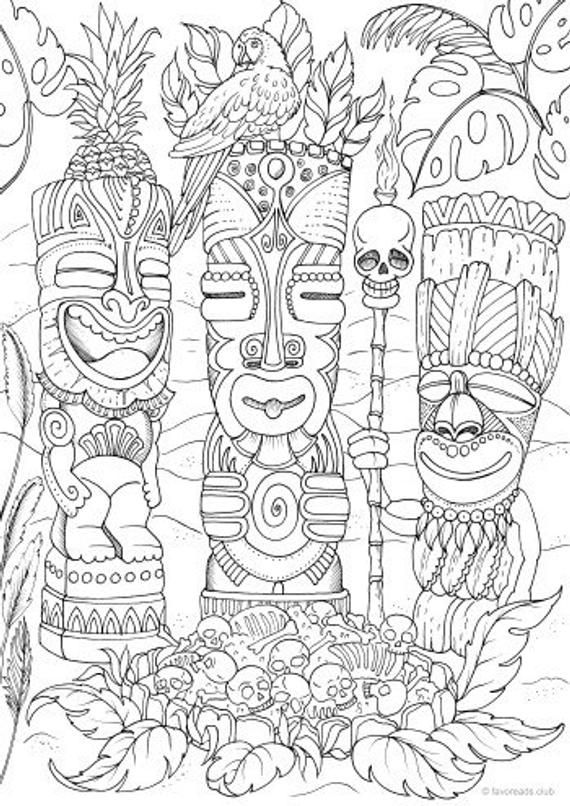 totems  printable adult coloring page from favoreads