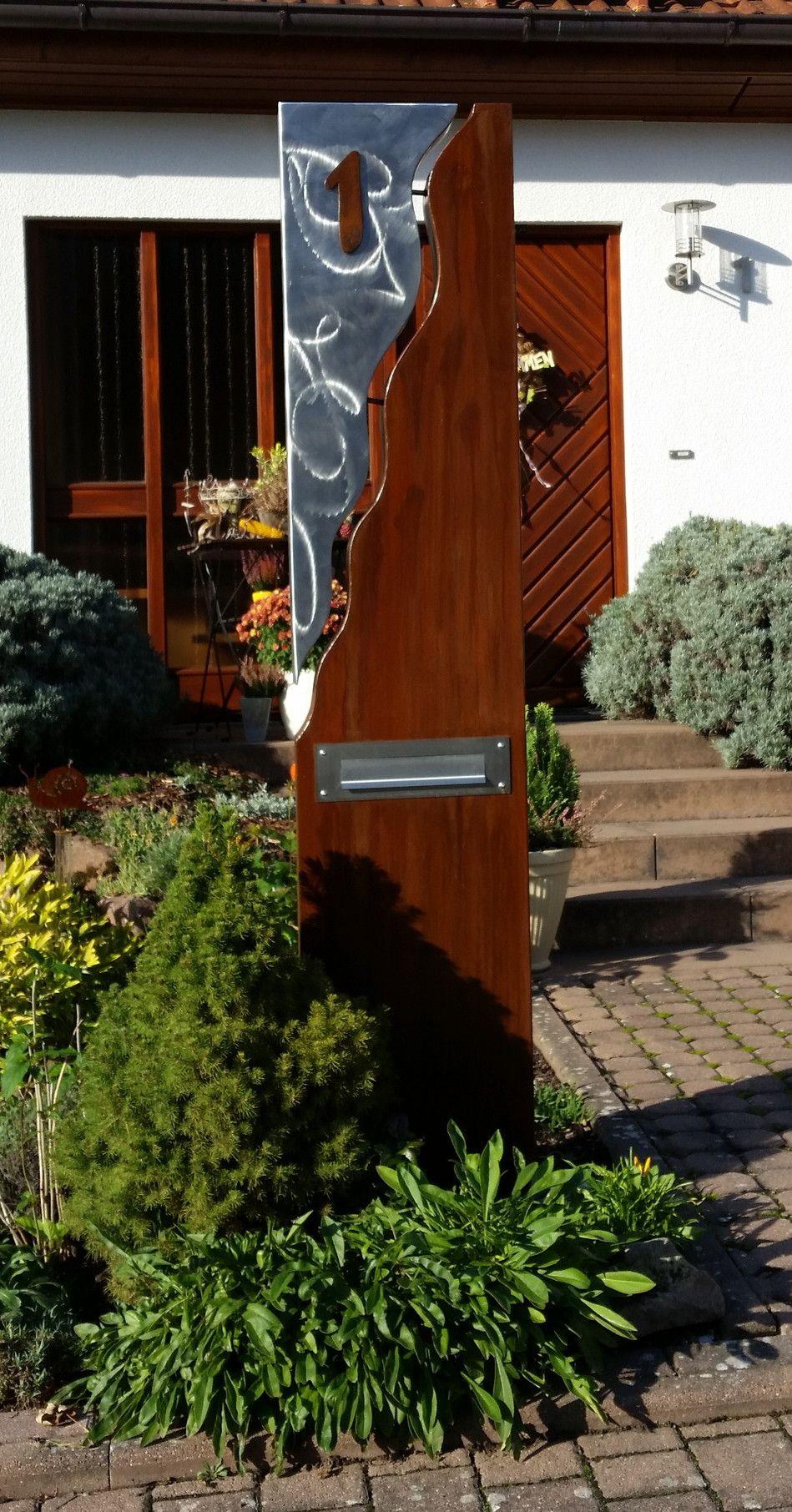Briefkasten s ule bestehend aus einer kombination von stahl u edelstahl metallkunst - Gartendeko stahl ...