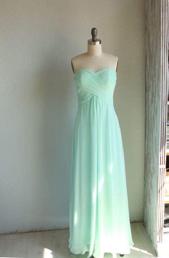 long chiffon mint bridesmaid dresses - Google Search | Dream Wedding ...