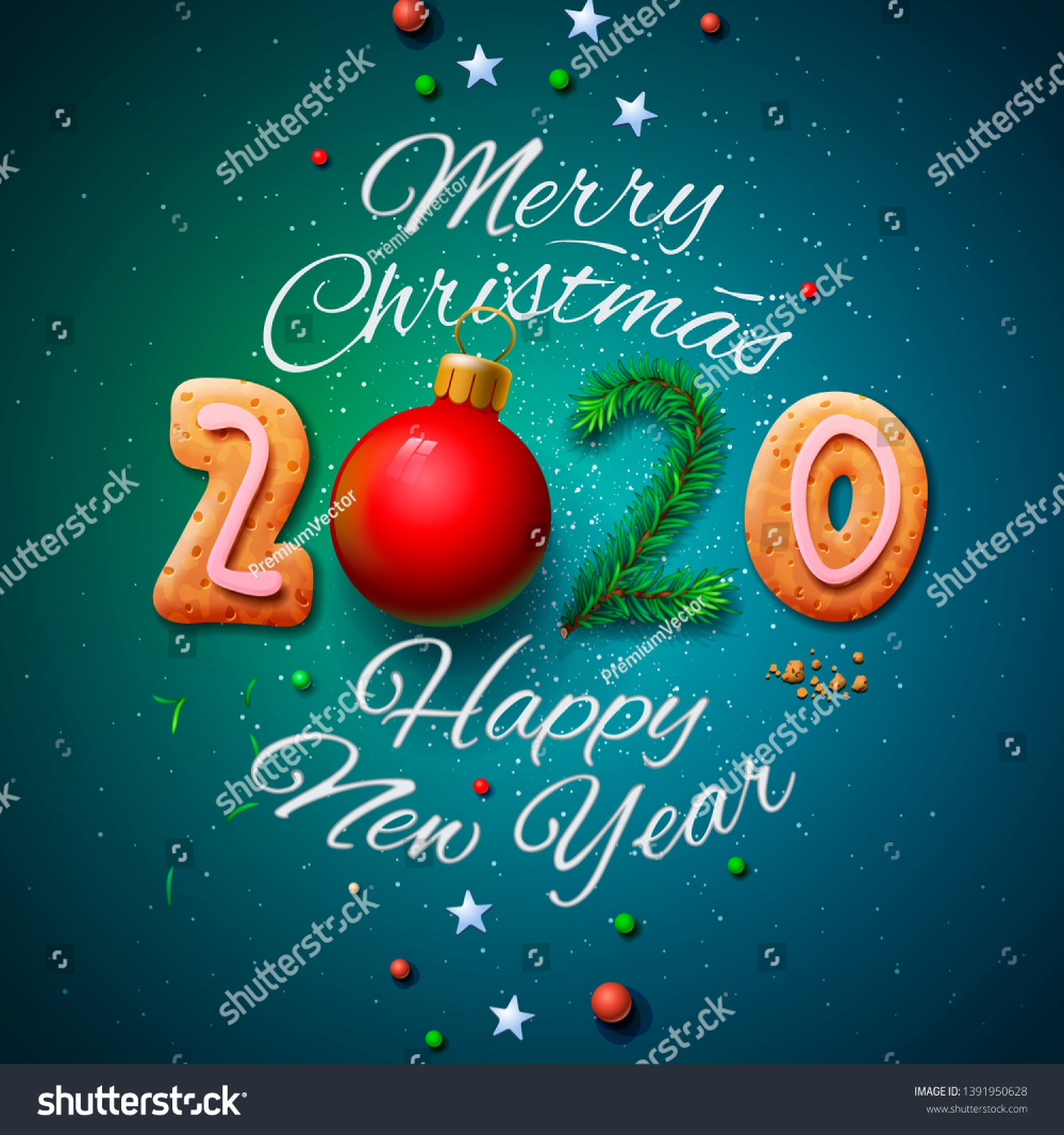 Merry Christmas And Happy New Year 2020 Greeting Card Vector Illustration Merry Christmas And Happy New Year Happy New Year 2020 Merry