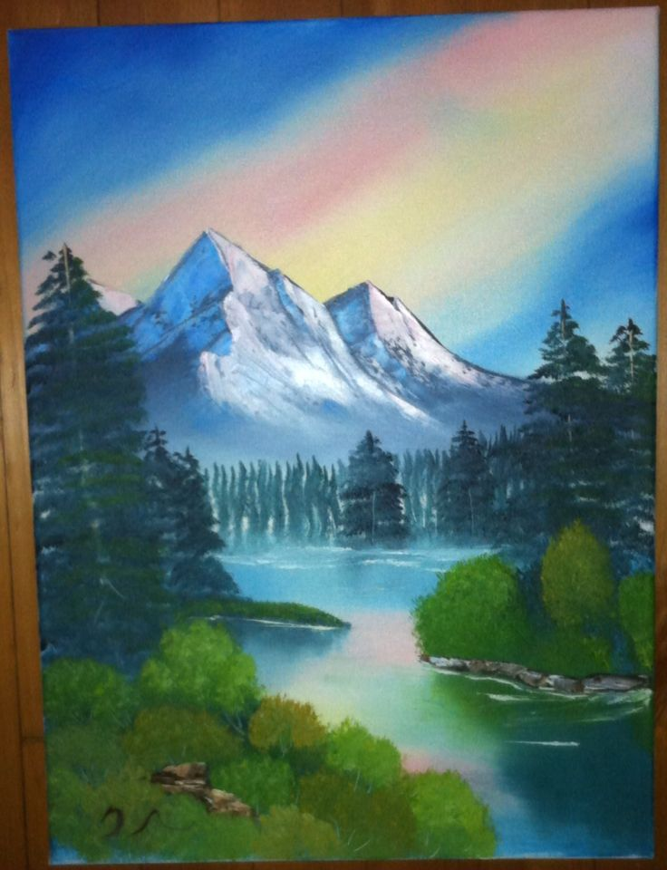 Morning Mountain Scene Mountain Scene Acrylic Painting Lessons Painting Lessons