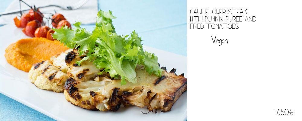 VEGAN caulidlower steak with pumpkin puree