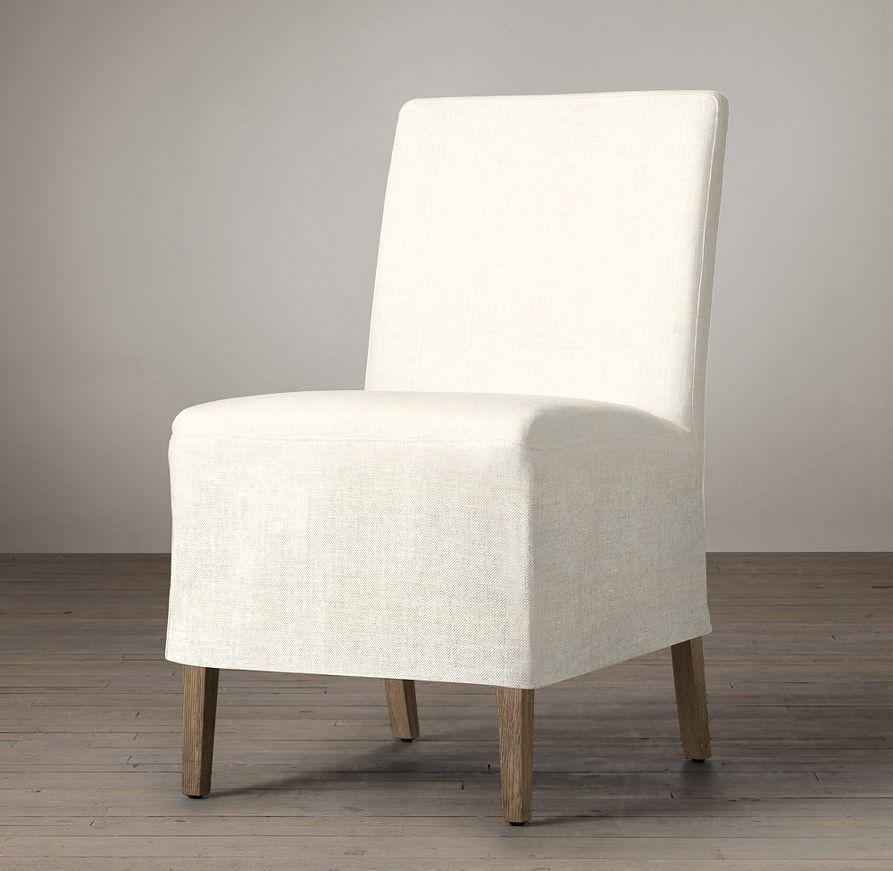 Parsons Slipcovered Short Skirt Side Chair