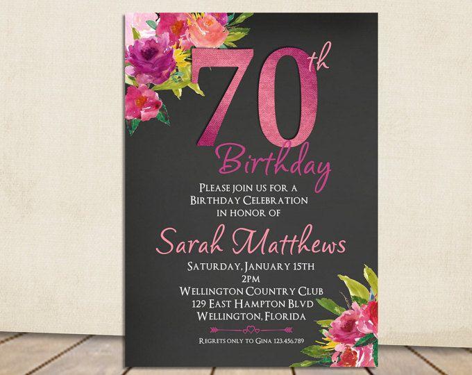 70 O Invitación Del Cumpleaños Invitación De Cumpleaños