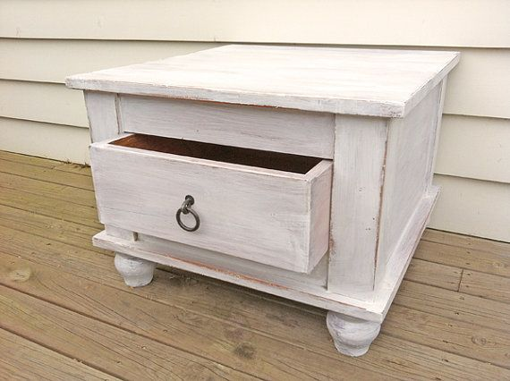 Washed Out Rustic White Bedside Table Or Side By Rosesupcycled 50 00
