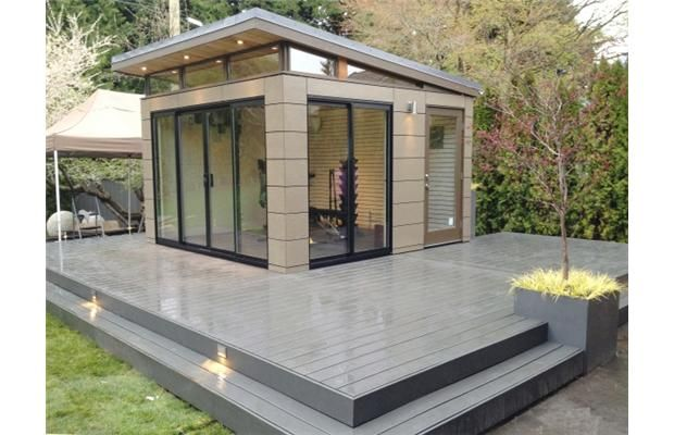 This west vancouver workout room was built by westcoast for Modern shed prices