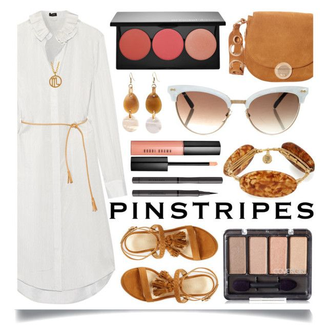"""""""Perfect Pinstripes"""" by ittie-kittie ❤ liked on Polyvore featuring Joseph, Stuart Weitzman, Foley + Corinna, Smashbox, Bourbon and Boweties, Kris Nations, Burberry, Bobbi Brown Cosmetics, Gucci and Summer"""