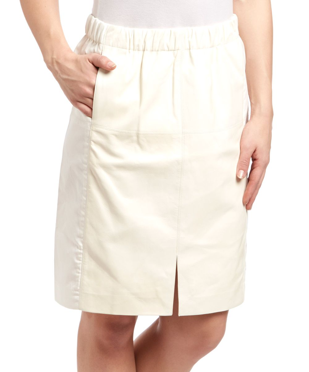 Cream Front-Slit Leather Pencil Skirt | Cream, Leather pencil ...