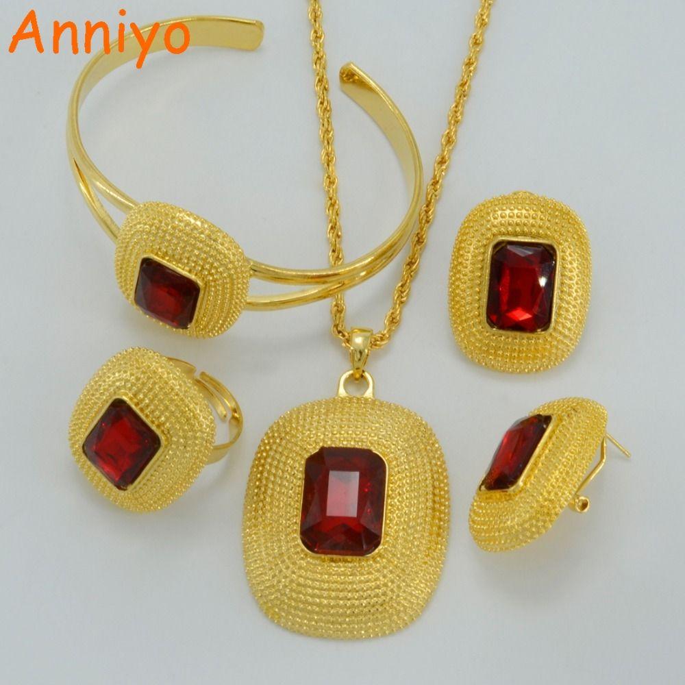 Ethiopian new jewelry sets necklacesclip earringsringbangle gold
