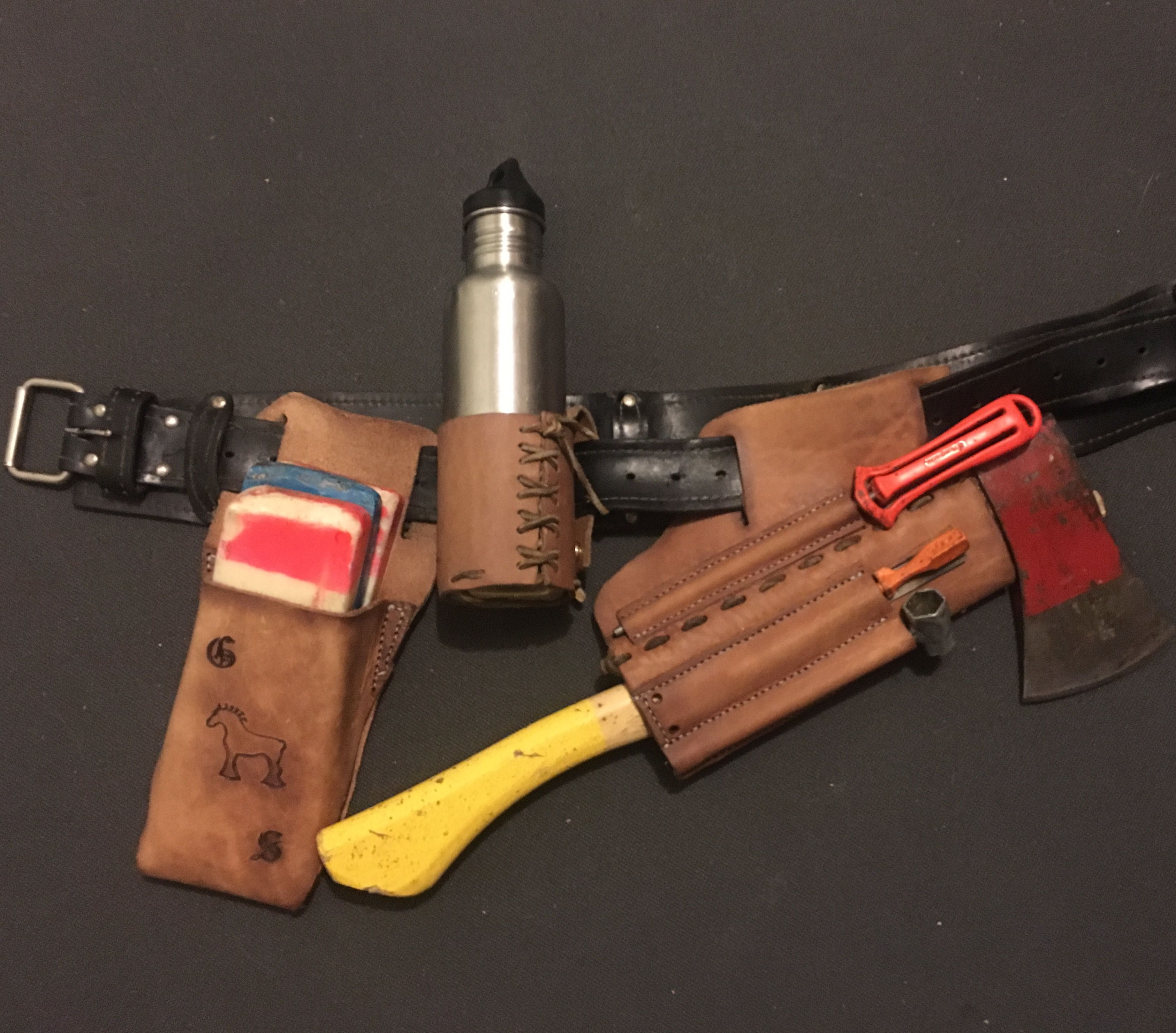 cc3af7a6a7 Work Horse Leather. Scout carry fallers axe holder, wedge pouch and bottle  holder. Hand stitched in Nelson BC