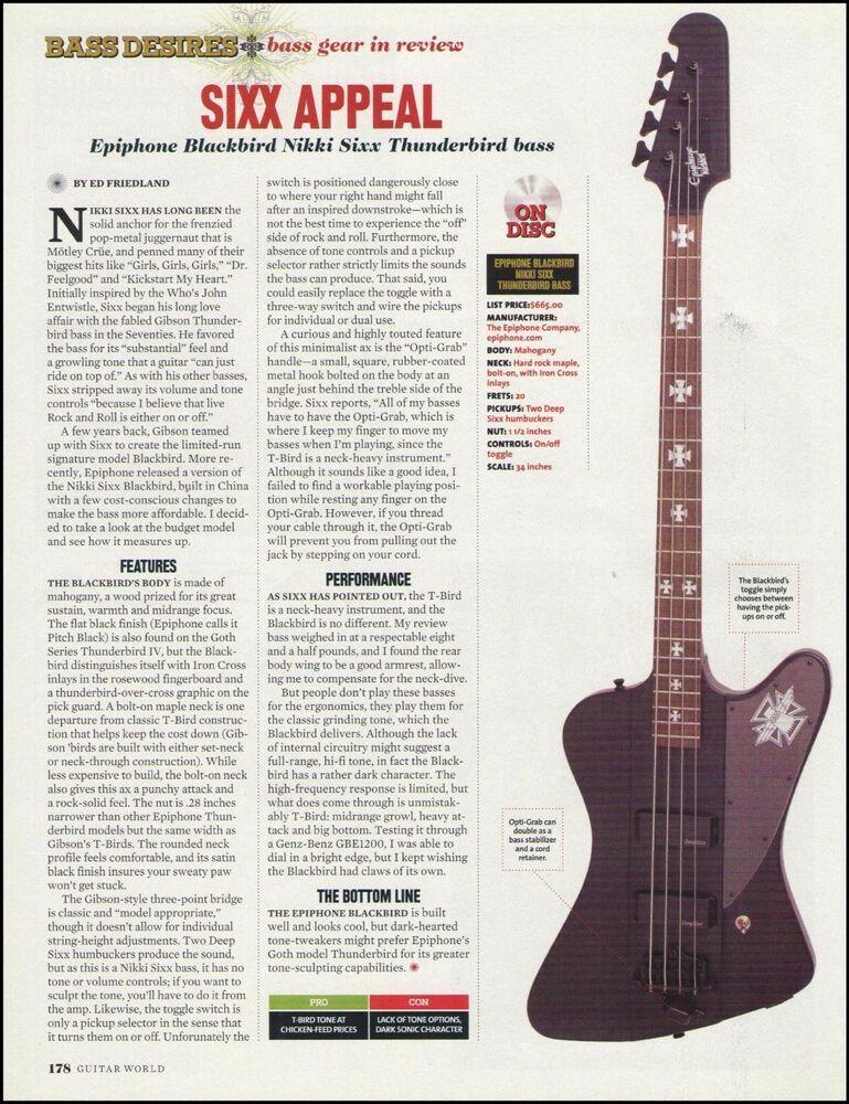 Epiphone Blackbird Nikki Sixx Thunderbird bass guitar 8 x 11 sound
