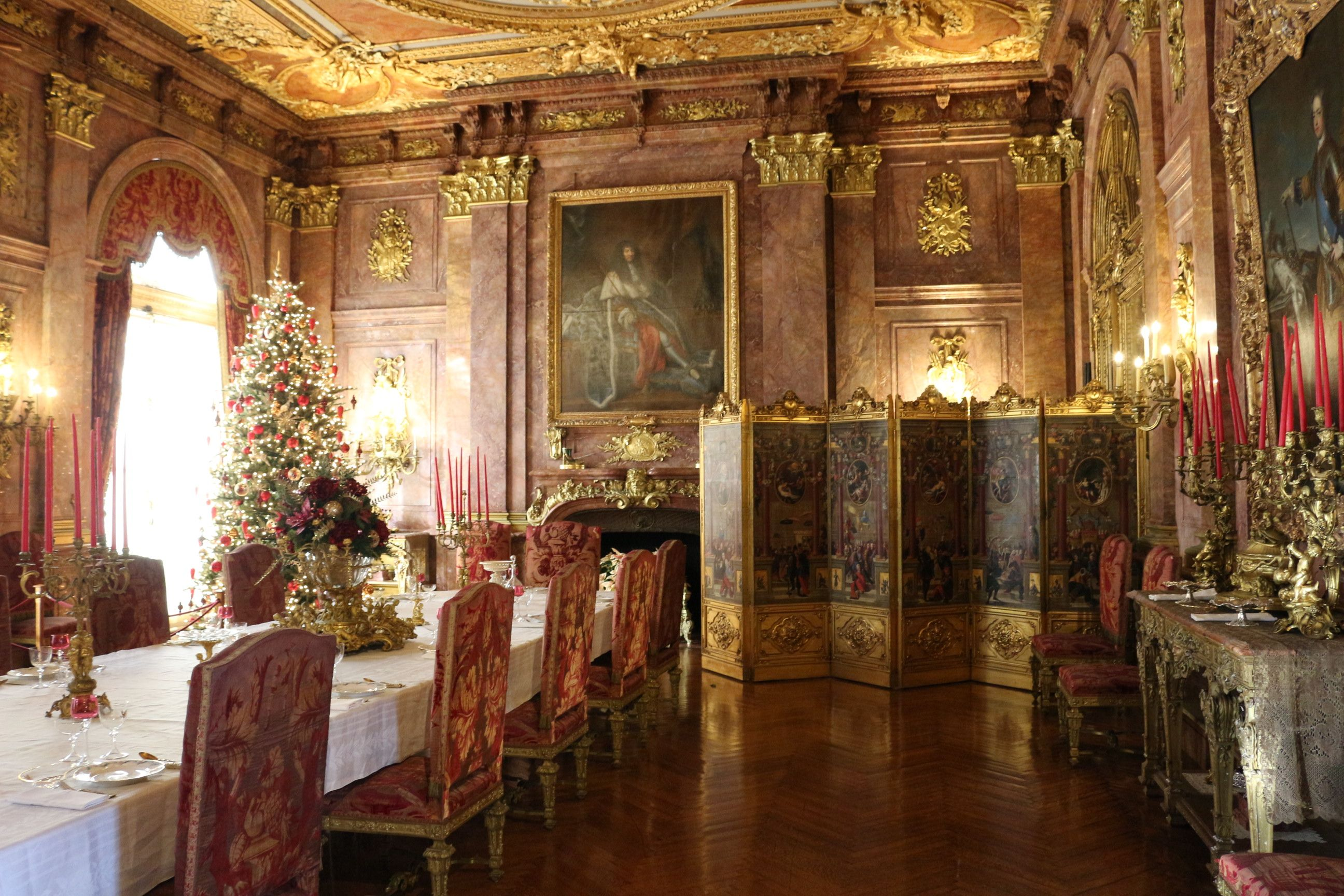 Red And Gold Dining Room In The Marble House Of Newport, Rhode Island