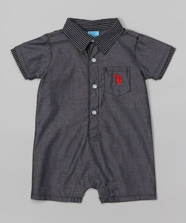 Loving this Charcoal Button Romper - Infant on #zulily! #zulilyfinds