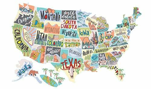 US States Map Travel Tracker Sticker Set | United States Adventure Decals for RVs Motorhomes and Campers | Large (22 x 13 inches) | Road Trip States Visited USA | Peel and Stick Vinyl North America