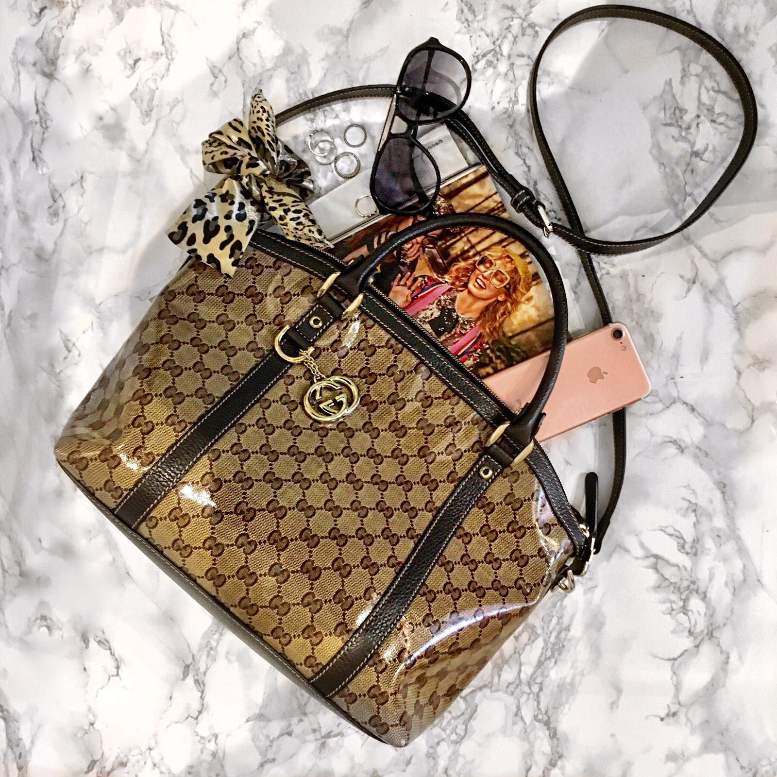 Shop In Style With This Gucci Vinyl Tote Priced At 495 Browse Our Full Colelction Of Desigenr Bags On Our Website From Ch Gucci Bag Bags Gucci Monogram