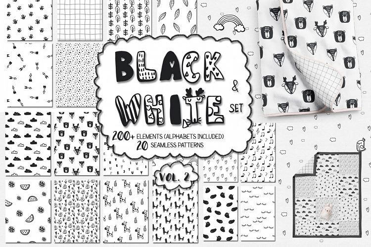 Black and white set perfect for many different projects, example - name card example