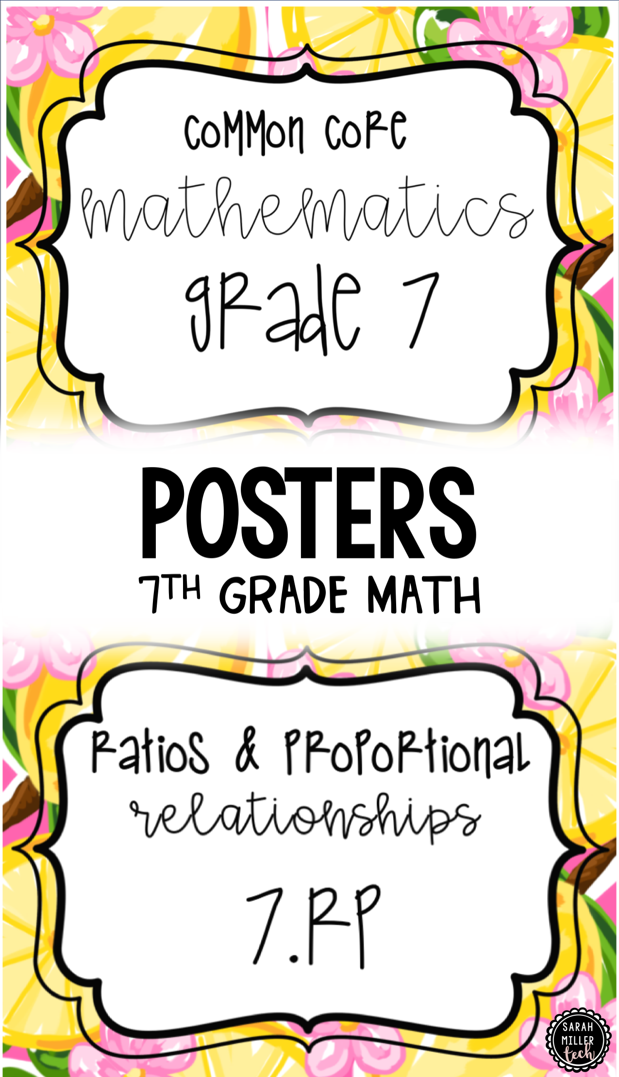 7th Grade Math Standards Posters Common Core