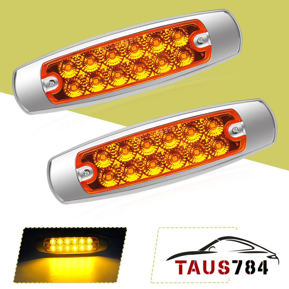 2x Yellow 12led Side Marker Clearance Light Waterproof Truck License Plate Light Ebay Markers Ebay License Plate