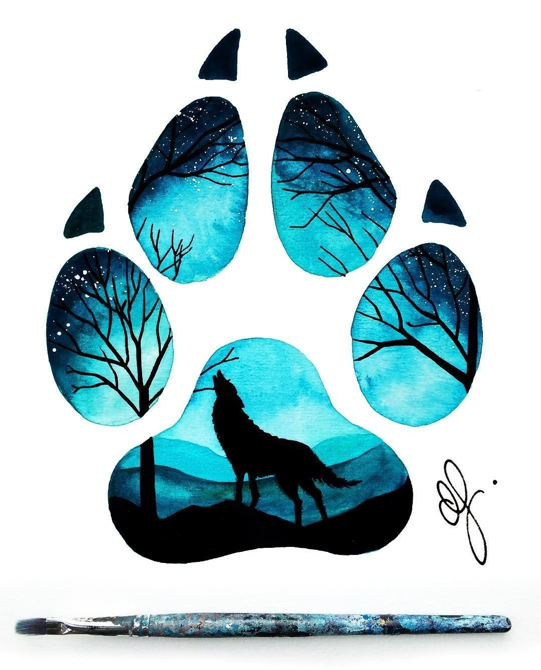 Photo of Paw with howling wolf inside. This artwork pleases with turquoise tone …