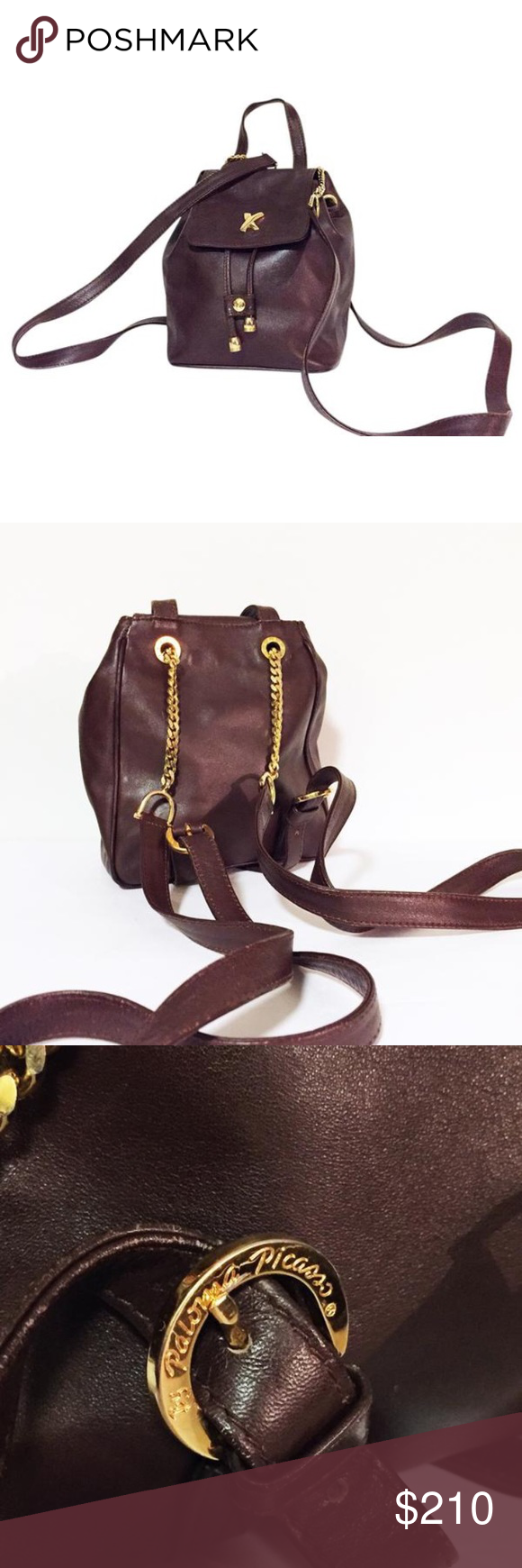 d8c51f142 Paloma Picasso brown leather mini backpack Gorgeous vintage Paloma Picasso  mini backpack with chain straps. Luxurious brown leather.