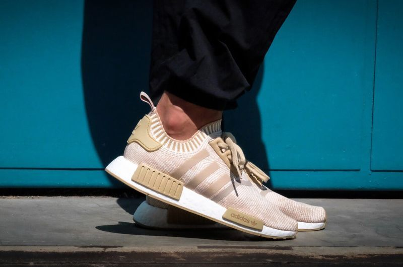 5173cfa02 BY1912 adidas NMD R1 PK Linen Khaki Off White On Feet