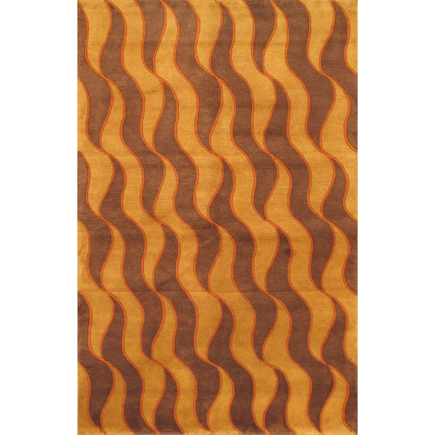 Ecarpetgallery Hand-knotted Aurora Orange and Red Wool Rug